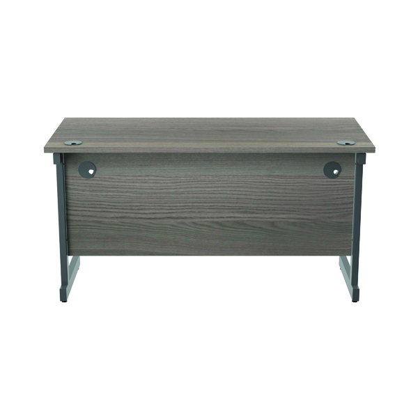 Jemini Single Rectangular Desk 1400x600mm Grey Oak/Silver KF800537