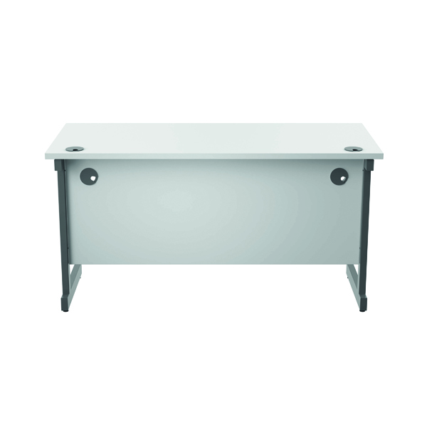 Jemini Single Rectangular Desk 1400x600mm White/Silver KF800559