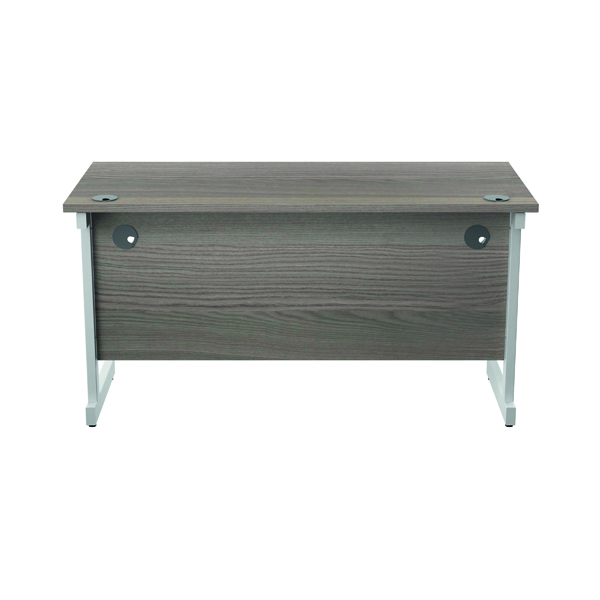 Jemini Single Rectangular Desk 1400x600mm Grey Oak/White KF800593