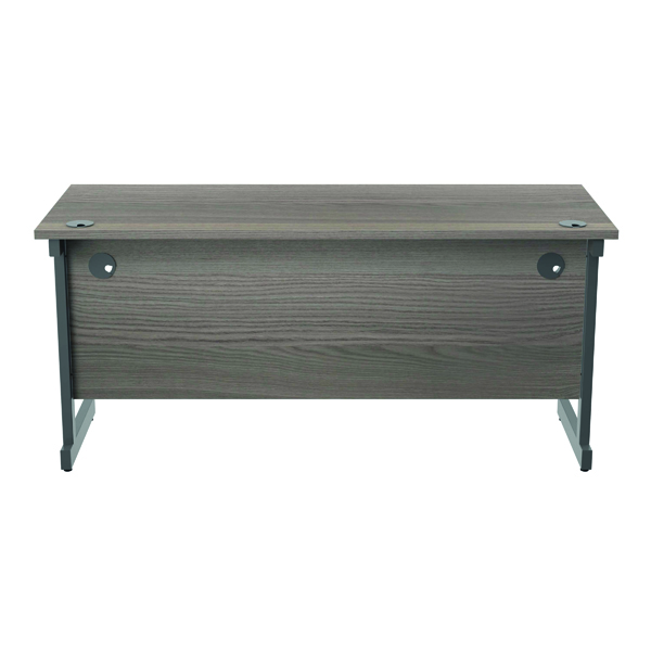 Jemini Single Rectangular Desk 1600x600mm Grey Oak/Silver KF800654