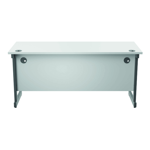 Jemini Single Rectangular Desk 1600x600mm White/Silver KF800676