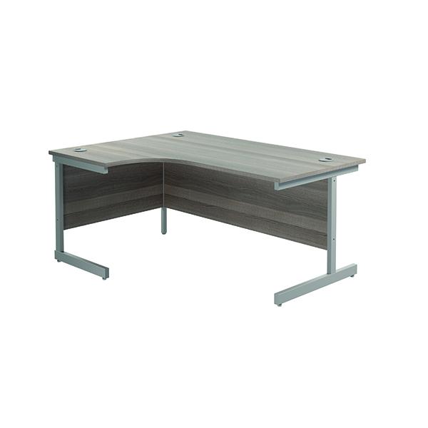 Jemini Left Hand Radial Desk 1600x1200mm Grey Oak/Silver KF801734