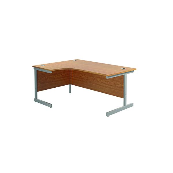 Jemini Left Hand Radial Desk 1600x1200mm Nova Oak/Silver KF801740