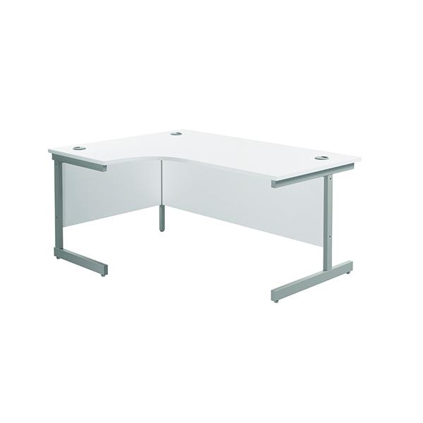 Jemini Left Hand Radial Desk 1600x1200mm White/Silver KF801756