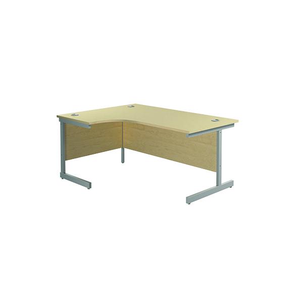 Jemini Left Hand Radial Desk 1600x1200mm Maple/Silver KF801762