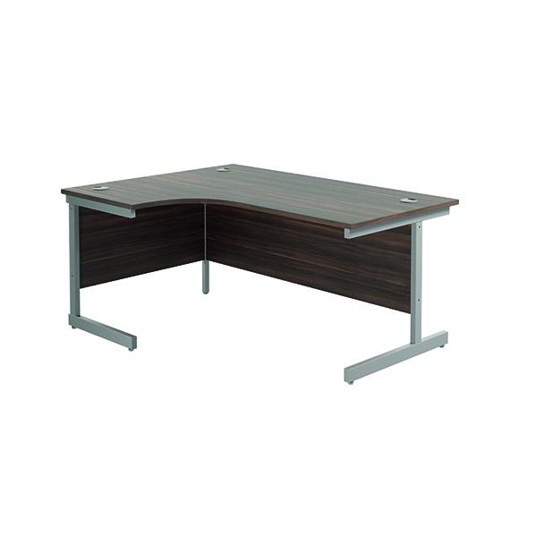 Jemini Left Hand Radial Desk 1600x1200mm Dark Walnut/Silver KF801778