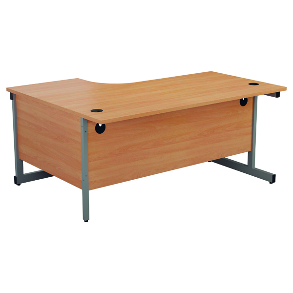 Jemini Right Hand Radial Desk 1600x1200mm Beech/Silver KF801784
