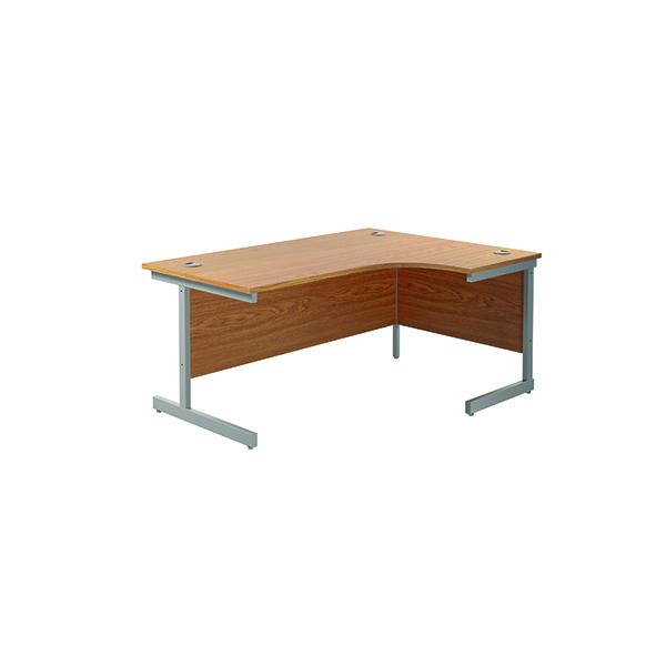 Jemini Right Hand Radial Desk 1600x1200mm Nova Oak/Silver KF801805
