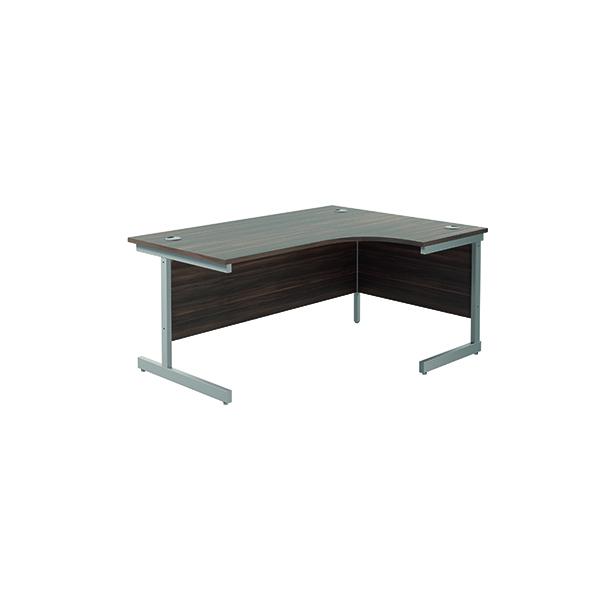 Jemini Right Hand Radial Desk 1600x1200mm Dark Walnut/Silver KF801830