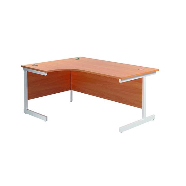 Jemini Left Hand Radial Desk 1600x1200mm Beech/White KF801846