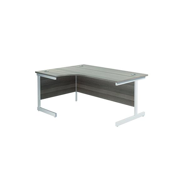 Jemini Left Hand Radial Desk 1600x1200mm Grey Oak/White KF801852