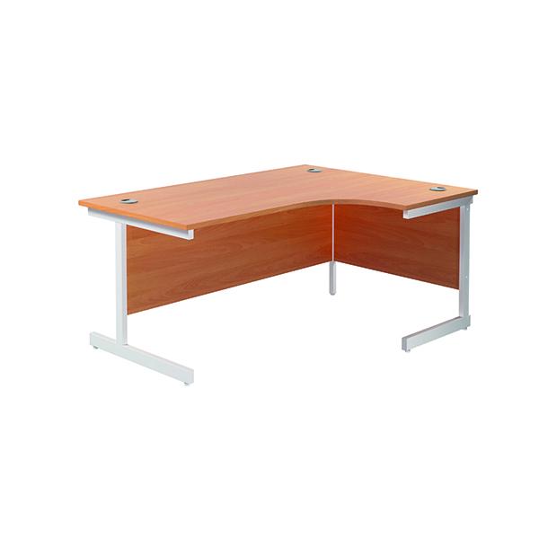 Jemini Right Hand Radial Desk 1600x1200mm Beech/White KF801901