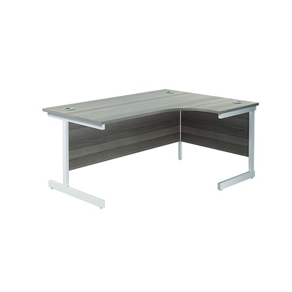 Jemini Right Hand Radial Desk 1600x1200mm Grey Oak/White KF801917