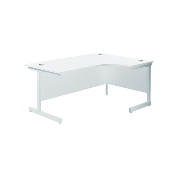 Jemini Right Hand Radial Desk 1600x1200mm White/White KF801936