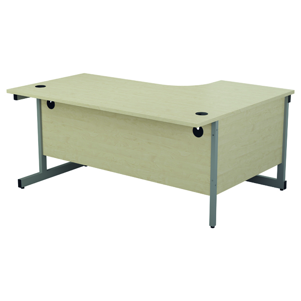 Jemini Left Hand Radial Desk 1800x1200mm Maple/Silver KF802004