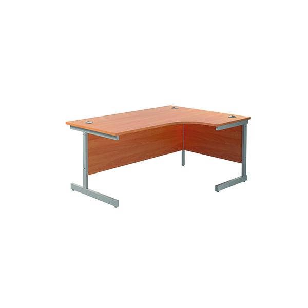 Jemini Right Hand Radial Desk 1800x1200mm Beech/Silver KF802026