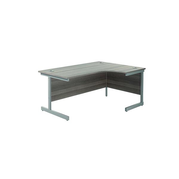 Jemini Right Hand Radial Desk 1800x1200mm Grey Oak/Silver KF802039