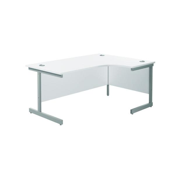 Jemini Right Hand Radial Desk 1800x1200mm White/Silver KF802051