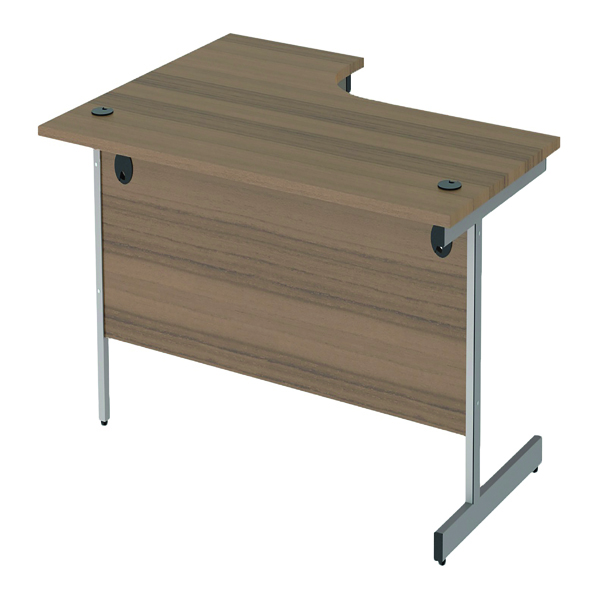 Jemini Right Hand Radial Desk 1800x1200mm Dark Walnut/Silver KF802073