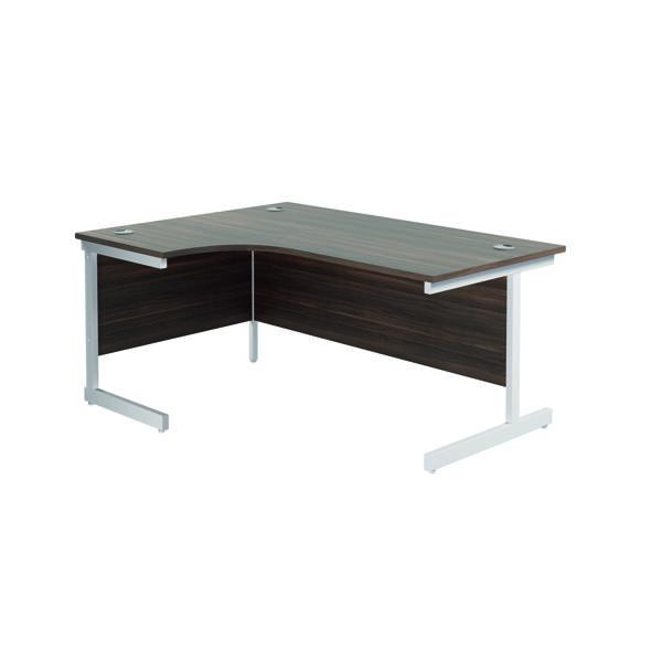 Jemini Left Hand Radial Desk 1800x1200mm Dark Walnut/White KF802135
