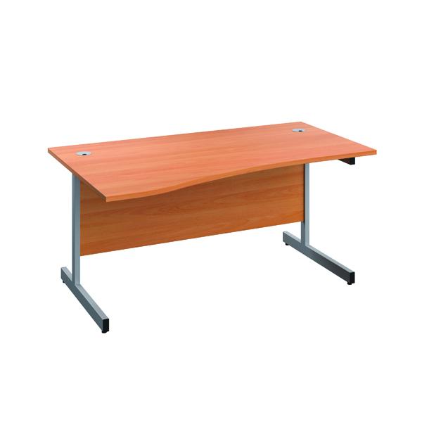 Jemini Left Hand Wave Desk 1600x1000mm Beech/Silver KF802449