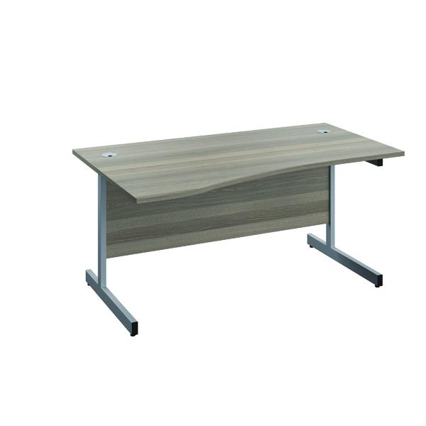 Jemini Left Hand Wave Desk 1600x1000mm Grey Oak/Silver KF802455