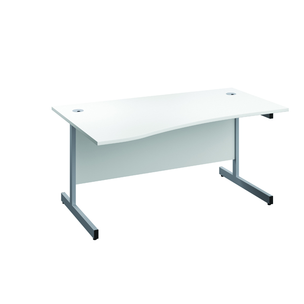 Jemini Left Hand Wave Desk 1600x1000mm White/Silver KF802477