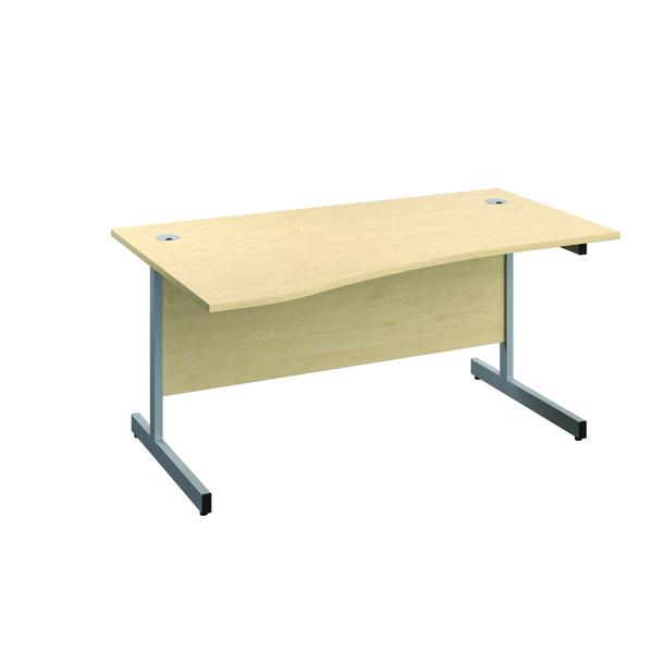 Jemini Left Hand Wave Desk 1600x1000mm Maple/Silver KF802483