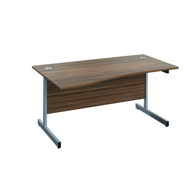 Jemini Left Hand Wave Desk 1600x1000mm Dark Walnut/Silver KF802499
