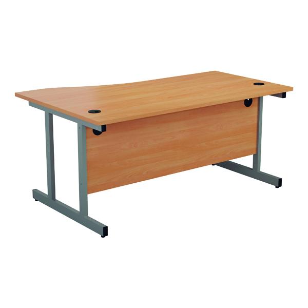 Jemini Right Hand Wave Desk 1600x1000mm Beech/Silver KF802504