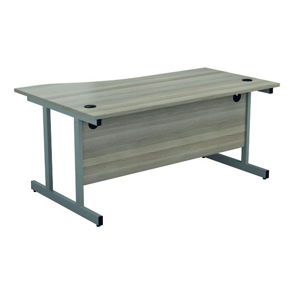 Jemini Right Hand Wave Desk 1600x1000mm Grey Oak/Silver KF802510