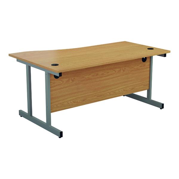Jemini Right Hand Wave Desk 1600x1000mm Nova Oak/Silver KF802526