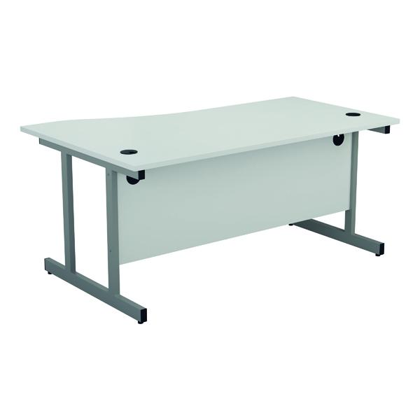 Jemini Right Hand Wave Desk 1600x1000mm White/Silver KF802539