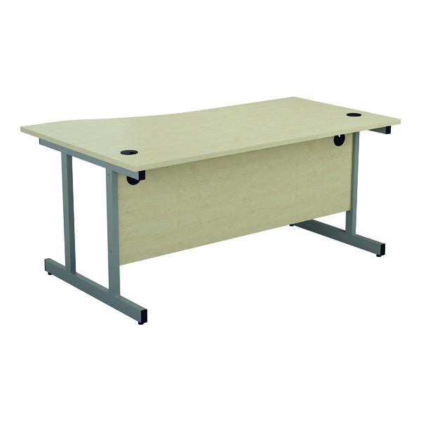 Jemini Right Hand Wave Desk 1600x1000mm Maple/Silver KF802545