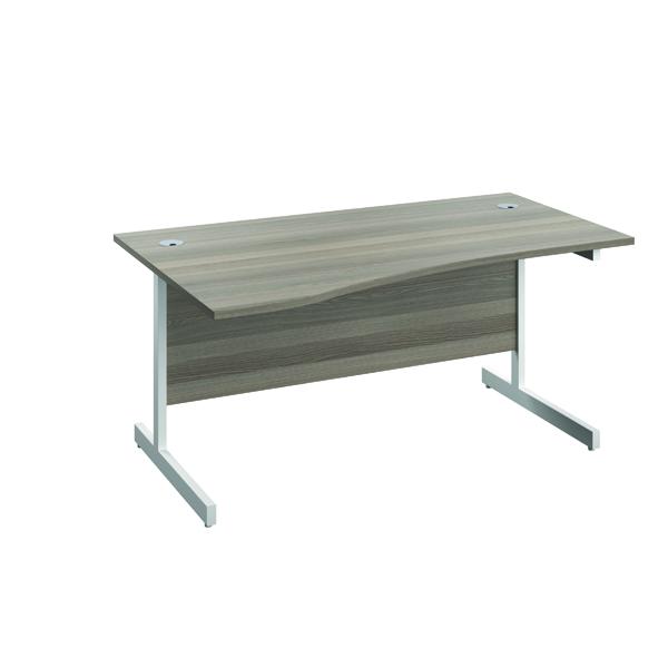 Jemini Left Hand Wave Desk 1600x1000mm Grey Oak/White KF802573