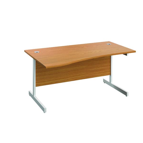 Jemini Left Hand Wave Desk 1600x1000mm Nova Oak/White KF802589