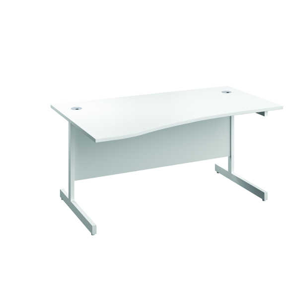Jemini Left Hand Wave Desk 1600x1000mm White/White KF802595