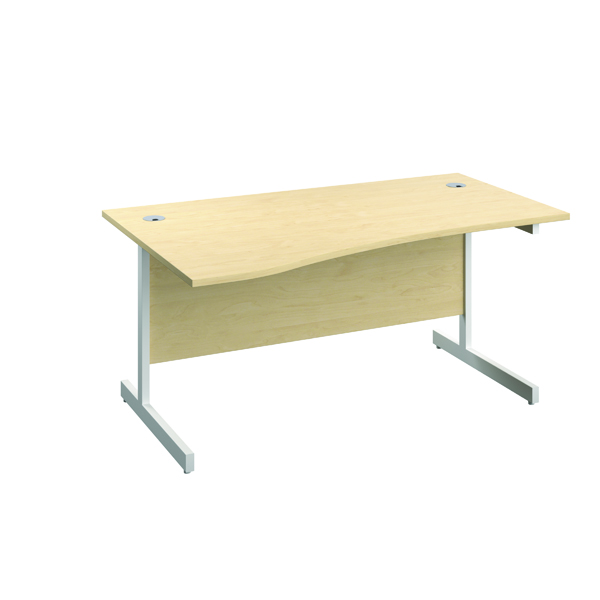 Jemini Left Hand Wave Desk 1600x1000mm Maple/White KF802600