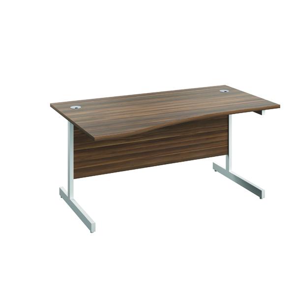 Jemini Left Hand Wave Desk 1600x1000mm Dark Walnut/White KF802616