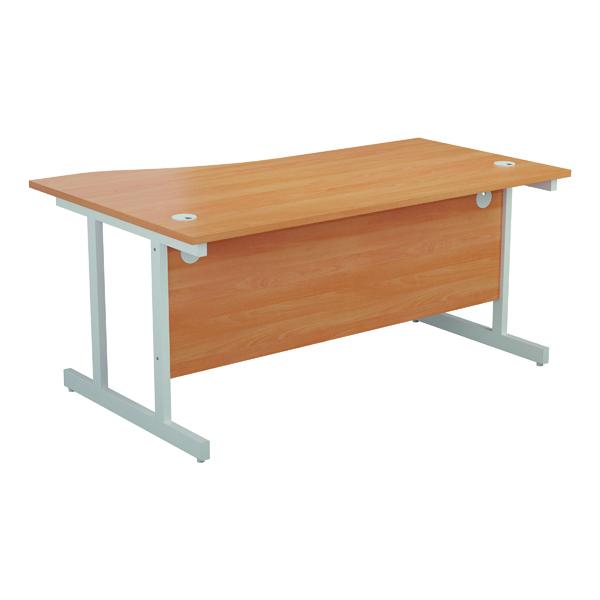 Jemini Right Hand Wave Desk 1600x1000mm Beech/White KF802622