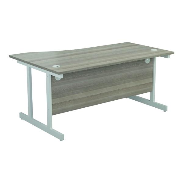 Jemini Right Hand Wave Desk 1600x1000mm Grey Oak/White KF802634
