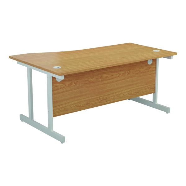 Jemini Right Hand Wave Desk 1600x1000mm Nova Oak/White KF802640