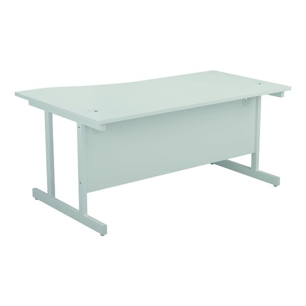 Jemini Right Hand Wave Desk 1600x1000mm White/White KF802656