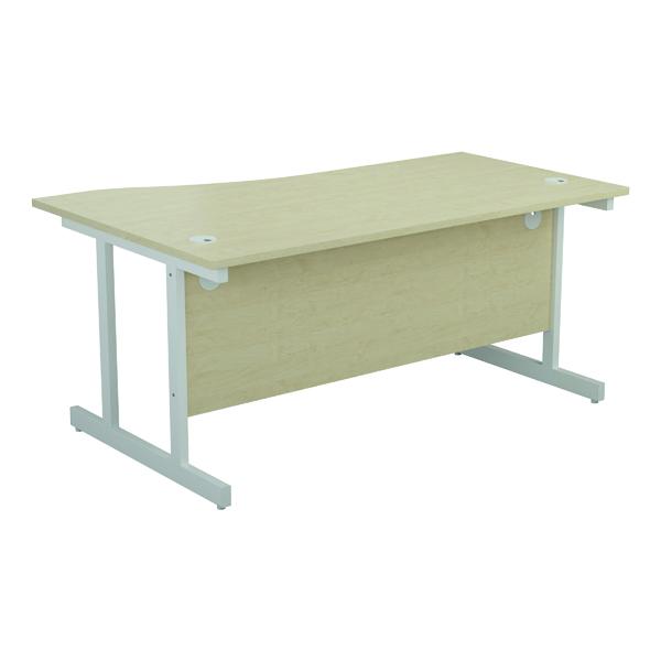Jemini Right Hand Wave Desk 1600x1000mm Maple/White KF802662