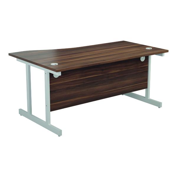 Jemini Right Hand Wave Desk 1600x1000mm Dark Walnut/White KF802678