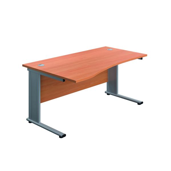 Jemini Double Upright Metal Insert Left Hand Wave Desk 1600x1000mm Beech/Silver KF816022