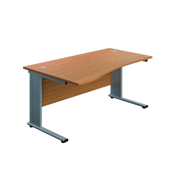 Jemini Double Upright Metal Insert Left Hand Wave Desk 1600x1000mm Nova Oak/Silver KF816046