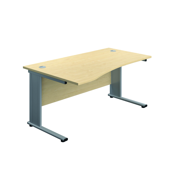 Jemini Double Upright Metal Insert Left Hand Wave Desk 1600x1000mm Maple/Silver KF816060
