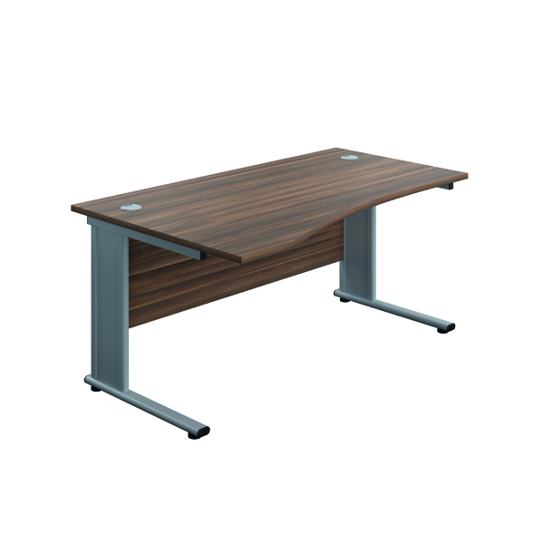 Jemini Double Upright Metal Insert Left Hand Wave Desk 1600x1000mm Dark Walnut/Silver KF816073