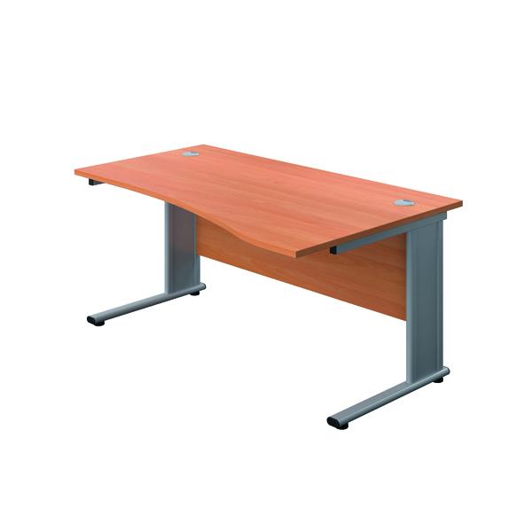 Jemini Double Upright Metal Insert Right Hand Wave Desk 1600x1000mm Beech/Silver KF816080